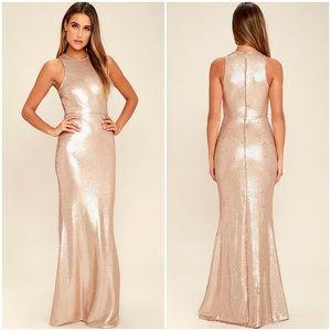 Lulus notorious matte rose gold sequin gown dress